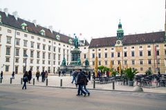 People at Hofburg, Innenhof, Monument of Emperor Royalty Free Stock Photo