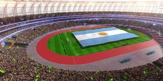 People hold Argentina flag in stadium arena. field 3d photorealistic render. Illustration vector illustration