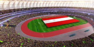 People hold Austria flag in stadium arena. field 3d photorealistic render vector illustration