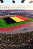 People hold Belgium flag in stadium arena. field 3d photorealistic render. Illustration royalty free illustration