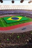 People hold Brazil flag in stadium arena. field 3d photorealistic render vector illustration
