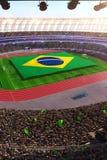 People hold Brazil flag in stadium arena. field 3d photorealistic render. Illustration vector illustration