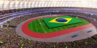 People hold Brazil flag in stadium arena. field 3d photorealistic render. Illustration stock illustration