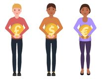 People hold coins, dollar, euro, pounds sterling, happy characters. In a cute style royalty free illustration