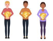 People hold coins, dollar, euro, pounds sterling. Happy characters in a cute style stock illustration