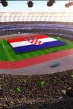 People hold Croatia flag in stadium arena. field 3d photorealistic render. Illustration vector illustration