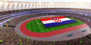 People hold Croatia flag in stadium arena. field 3d photorealistic render royalty free stock photos