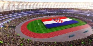 People hold Croatia flag in stadium arena. field 3d photorealistic render. Illustration royalty free illustration