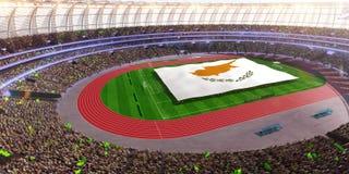 People hold Cyprus flag in stadium arena. field 3d photorealistic render. Illustration stock illustration