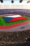 People hold Czech flag in stadium arena. field 3d photorealistic render. Illustration stock illustration