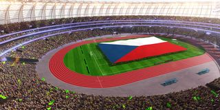 People hold Czech flag in stadium arena. field 3d photorealistic render. Illustration royalty free illustration