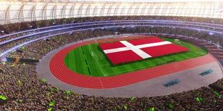 People hold Denmark flag in stadium arena. field 3d photorealistic render. Illustration stock illustration