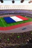 People hold France flag in stadium arena. field 3d photorealistic render. Illustration vector illustration