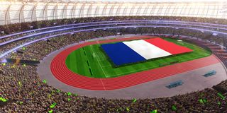 People hold France flag in stadium arena. field 3d photorealistic render royalty free illustration
