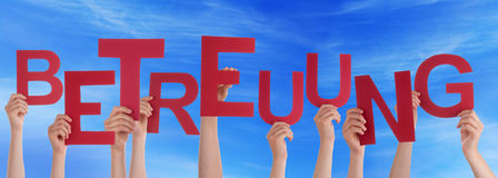 People Hold German Betreuung Means Care Blue Sky Stock Photo