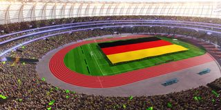 People hold Germany flag in stadium arena. field 3d photorealistic render vector illustration