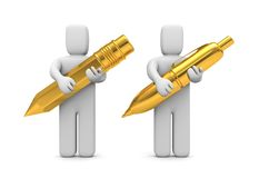 People hold gold pen and pencil Royalty Free Stock Photo