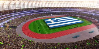 People hold Greece flag in stadium arena. field 3d photorealistic render. Illustration royalty free illustration