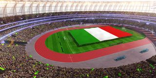 People hold Italy flag in stadium arena. field 3d photorealistic render stock images