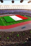 People hold Italy flag in stadium arena. field 3d photorealistic render. Illustration royalty free illustration