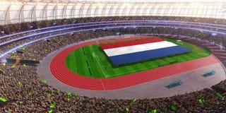People hold Netherlands flag in stadium arena. field 3d photorealistic render. Illustration vector illustration