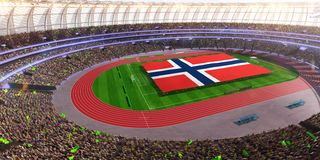People hold Norway flag in stadium arena. field 3d photorealistic render stock illustration