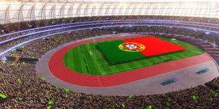 People hold Portugal flag in stadium arena. field 3d photorealistic render. Illustration stock illustration