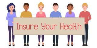 People hold a poster with the inscription Insure Your Health. Happy characters in cartoon style royalty free illustration