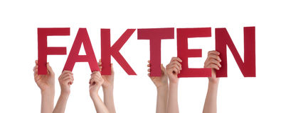 People Hold Red Straight Word Fakten Means Fact. Many Caucasian People And Hands Holding Red Straight Letters Or Characters Building The Isolated German Word Royalty Free Stock Image