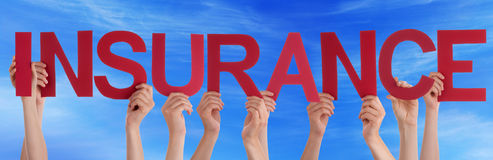 People Hold Red Straight Word Insurance Blue Sky Stock Photography