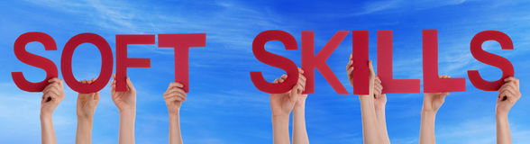 People Hold Red Straight Word Soft Skills Blue Sky Stock Photo
