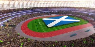 People hold Scotland flag in stadium arena. field 3d photorealistic render. Illustration royalty free illustration