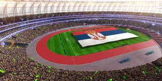 People hold Serbia flag in stadium arena. field 3d photorealistic render vector illustration