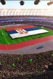 People hold Serbia flag in stadium arena. field 3d photorealistic render. Illustration stock illustration