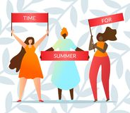 People Hold Slogan Time for Summer Vector Flat. stock illustration