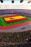 People hold Spain flag in stadium arena. field 3d photorealistic render. Illustration stock illustration
