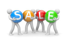 People hold spheres with word sale. Collective shopping metaphor. Separated on white Royalty Free Stock Photo
