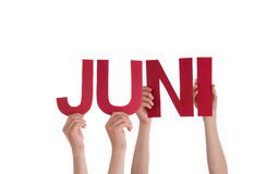People Hold Straight German Word Juni Means June Royalty Free Stock Image