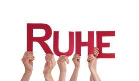 People Hold Straight German Word Ruhe Means Rest Stock Photography