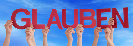 People Hold Straight Glauben Mean Believe Blue Sky Stock Photo