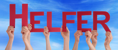 People Hold Straight Helfer Means Helper Blue Sky Royalty Free Stock Photo