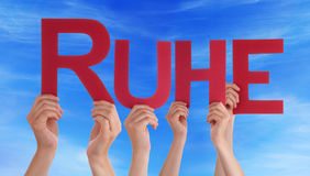 People Hold Straight Ruhe Means Rest Blue Sky Stock Photography