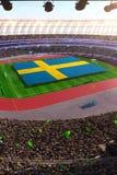 People hold Sweden flag in stadium arena. field 3d photorealistic render. Illustration royalty free illustration