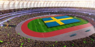 People hold Sweden flag in stadium arena. field 3d photorealistic render stock illustration
