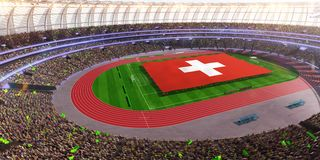 People hold Switzerland flag in stadium arena. field 3d photorealistic render vector illustration