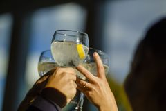 People hold toasting with glasses, friends celebrating and toasting royalty free stock photos
