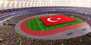 People hold Turkey flag in stadium arena. field 3d photorealistic render. Illustration royalty free illustration