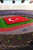 People hold Turkey flag in stadium arena. field 3d photorealistic render. Illustration stock illustration