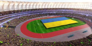 People hold Ukraine flag in stadium arena. field 3d photorealistic render vector illustration