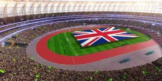 People hold United Kingdom flag in stadium arena. field 3d photorealistic render. Illustration vector illustration